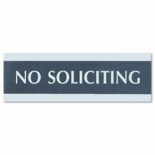 "Century Series ""No Soliciting"" Sign, 8w x 1/2d x 2h, Black/Silver"