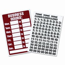 Business Hours Sign with Peel Vinyl Characters, Poly Resin, 8 x 12
