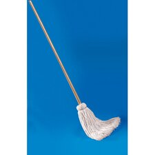 "21 oz Deck Mop with 54"" Wooden Handle and Cotton Fiber Head"