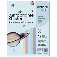 Astrobrights Glisten Pearlescent Colored Paper, 65Lb, 8-1/2 X 11, 48 Sheets/Pack