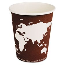 World Art Renewable Resource Compostable Hot Drink Cups, 8 Oz, 1000/Carton