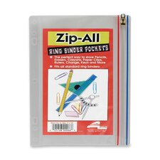 "Zip-All Ring Binder Pockets, 10-1/2""x8"", Clear"