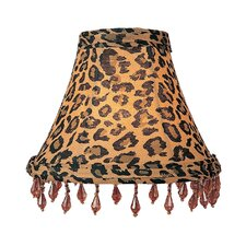 Leopard Print Silk Chandelier Shade with Amber Beads
