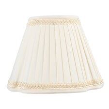 French Oval Pleat Shantung Silk Lamp Shade in Off White