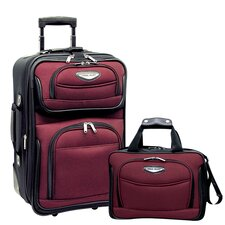 Amsterdam 2 Piece Carry-On Luggage Set in Burgundy