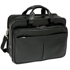 "R Series Walton Leather 17"" Expandable Laptop Briefcase in Black"