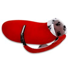 Original Dog Coat in Red with Pawprint Fleece and Black Belt