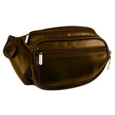 Black Leather Waist Pack with Organizer