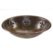 Oval Fleur De Lis Self Rimming Hammered Copper Sink