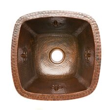 "Fleur De Lis 15"" x 15"" Square Copper Bar Sink"