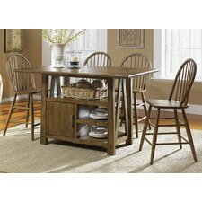 Farmhouse Casual 5 Piece Dining Centre Island Pub Table Set in Weathered Oak