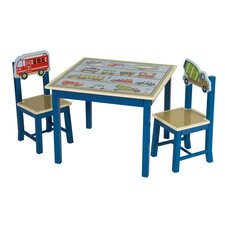 Moving All Around Kids 3 Piece Table and Chair Set
