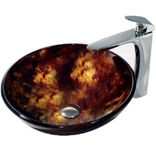 Tortoise Glass Bathroom Sink with Round-Edged Faucet