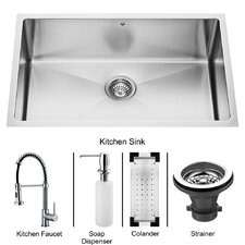 "30"" x 19"" Undermount Kitchen Sink with Faucet, Colander, Strainer and Dispenser"