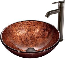 Mahogany Moon Vessel Sink with Faucet