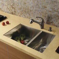 "29"" x 20"" x 10"" Undermount Double Bowl Kitchen Sink with Faucet and Soap Dispenser"