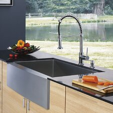 "30"" x 10.5"" Farmhouse Single Bowl Kitchen Sink with Faucet and Soap Dispenser"