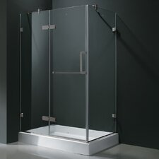 "24"" Pivot Door Swing Frameless Shower Enclosure with Base"