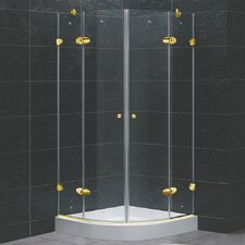 Neo-Angle Round Double Door Frameless Shower Enclosure with Base