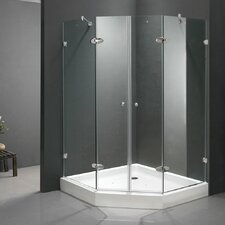 Neo-Angle Double Door Frameless Shower Enclosure with Base