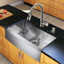 "All in One 33"" x 22.25"" Farmhouse Kitchen Sink with Faucet Set"