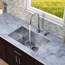 "32"" x 19"" Zero Radius Single Bowl Kitchen Sink with Pull-Out Faucet"