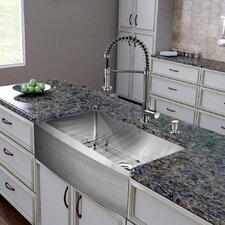 "All in One 36"" x 22.25"" x 18.5"" Farmhouse Kitchen Sink and Faucet Set"