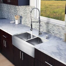 "All in One 33"" x 27.25"" Farmhouse Double Bowl Kitchen Sink and Faucet Set"