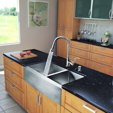 "All in One 33"" x 22.25"" x 12.13"" Farmhouse Double Bowl Kitchen Sink and Faucet Set"