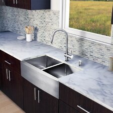 "All in One 33"" x 22.25"" x 17"" Farmhouse Double Bowl Kitchen Sink and Faucet Set"