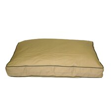 Classic Twill Rectangular Pet Bed in Khaki with Sage Cording