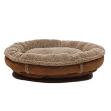 Faux Suede Round Comfy Cup® Dog Bed in Brown