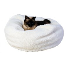 Sherpa Puff Ball Pet Bed in Natural Sherpa