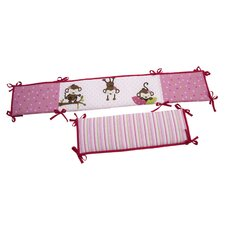 3 Little Monkeys Girl's Crib Bumper