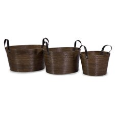 3 Piece Oval Wrapped Rattan Basket Set with Handle