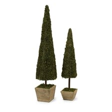 Two Piece Mossy Conical Topiary Set in Green