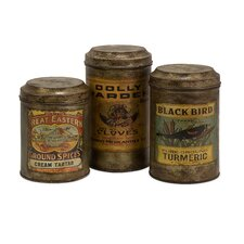 Addie Vintage Label Metal Canister (Set of 3)