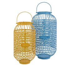 2 Piece Faisley Metal Candle Lantern Set