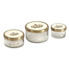 Crown Jars with Brass and Porcelain Lid (Set of 3)