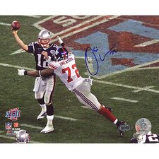 Osi Umenyiora Hitting Brady During Throw Autographed Photograph