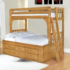 Convertible Twin over Full Six Drawer Bunk Bed