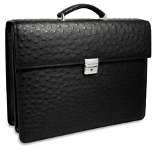 Genuine Ostrich Double Gusset Flapover Briefcase