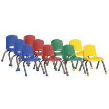 "10"" Plastic Stack Chair with Chrome Legs (Set of 10)"