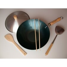 "5 Piece 12"" Preseasoned Flat Bottom Wok Set"