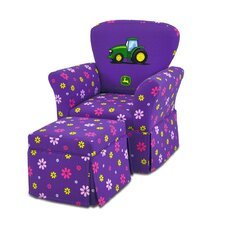 Girl's Skirted Rocking Chair and Ottoman Set