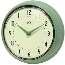 Retro Round Metal Wall Clock In Green