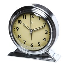 Brushed Nickel Metal Alarm Clock With Cream Face