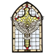 Tiffany Gothic Religious Holiday Dove Cross Stained Glass Window Insert