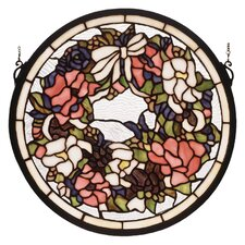 Wreath and Garland Medallion Stained Glass Window