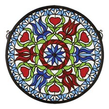Tiffany Floral Americana Hex Medallion Stained Glass Window